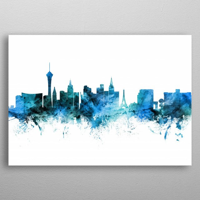 Watercolor art print of the skyline of Las Vegas, Nevada, United States metal poster