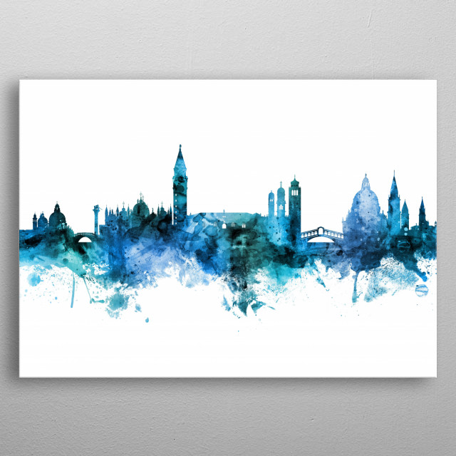 Watercolor art print of the skyline of Venice, Italy metal poster