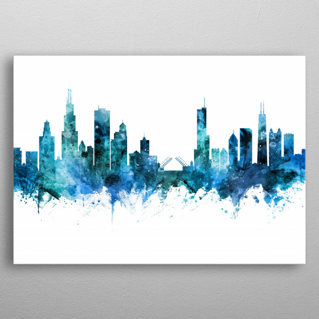 Watercolor art print of the skyline of Chicago, Illinois, United States metal poster