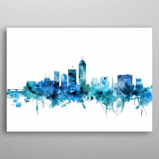 Watercolor art print of the skyline of Indianapolis, Indiana, United States metal poster