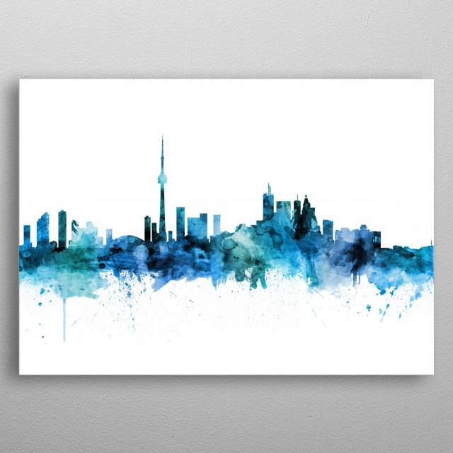 Watercolor art print of the skyline of Toronto, Canada metal poster