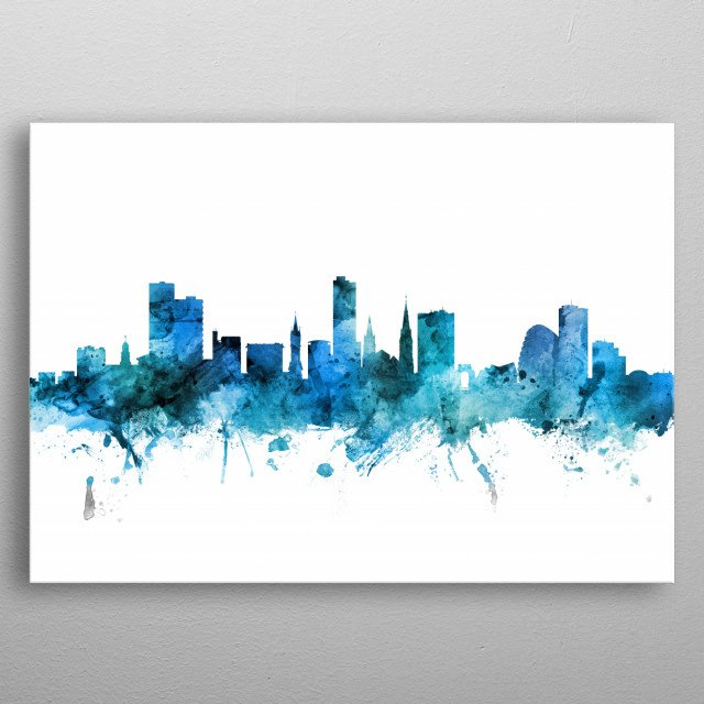 Watercolor art print of the skyline of Leicester, England, United Kingdom metal poster