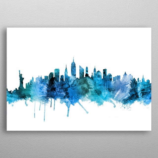 Watercolor art print of the skyline of New York City, United States metal poster