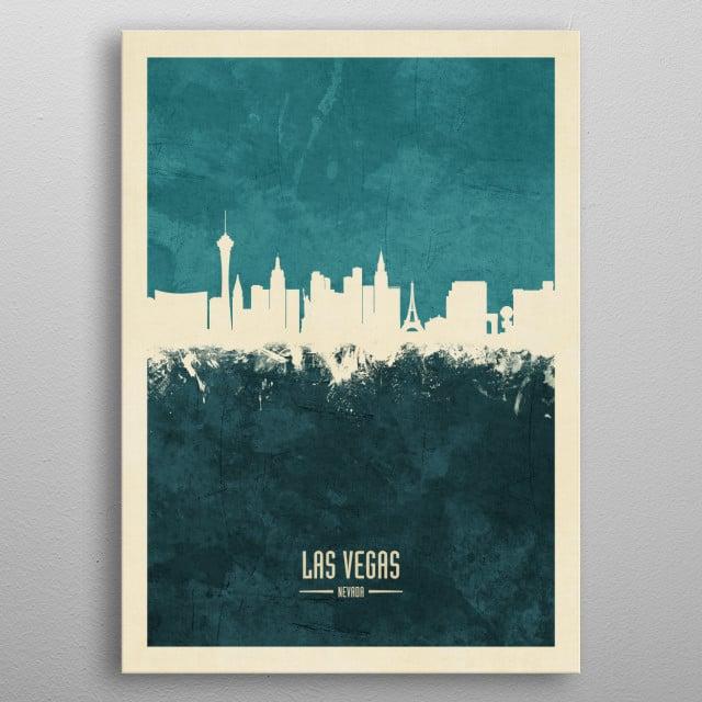 Watercolor art print of the skyline of Las Vegas, Nevada, United States metal poster