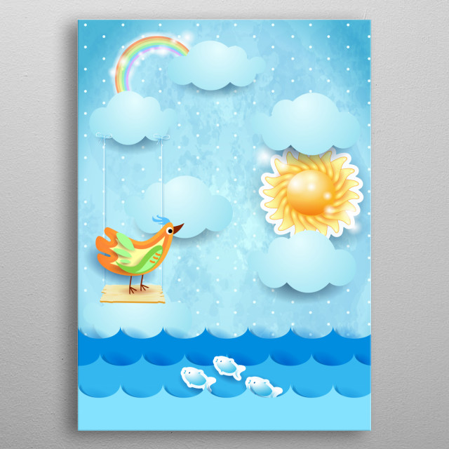 Fantasy paper seascape with swing and colorful bird metal poster