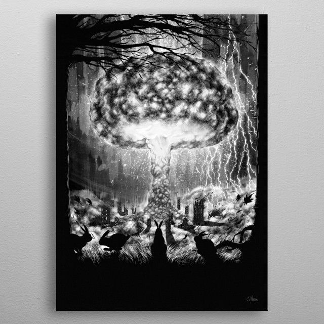 The end of the world witnessed by fluffy woodland creatures.. metal poster