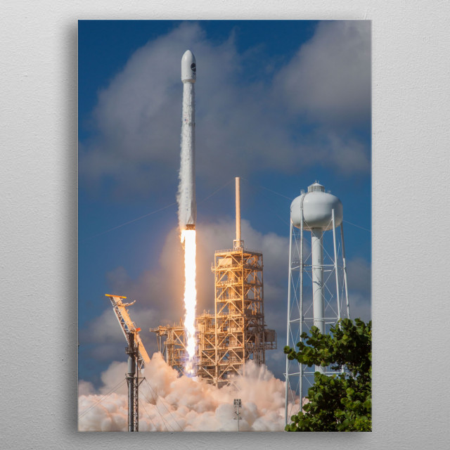 The Continuing Constant Launch of Falcon 9 Rockets.  metal poster