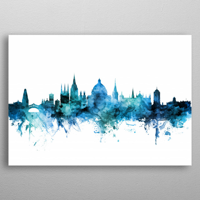 Watercolor art print of the skyline of Oxford, England, United Kingdom metal poster