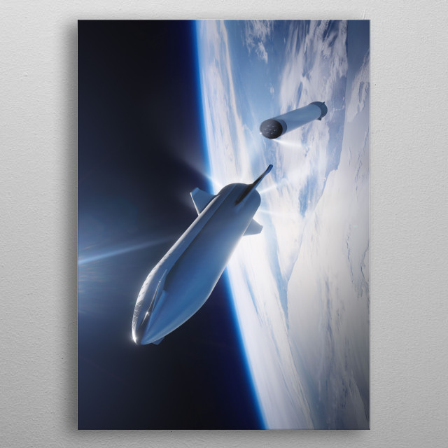 The Big Falcon Rocket is a privately funded fully reusable launch vehicle and spacecraft system in development by SpaceX. metal poster
