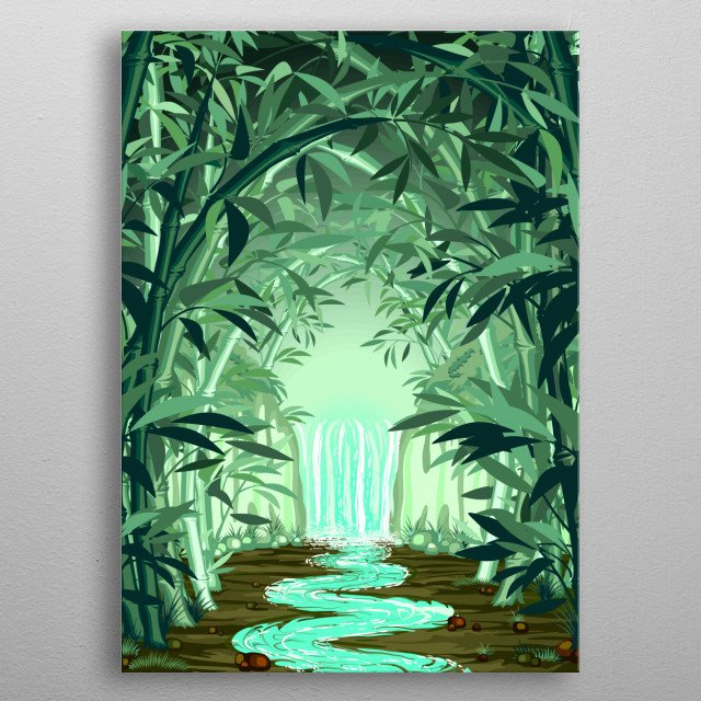 Magical and Fluorescent Waterfall at the end of a Natural Bamboo Tunnel, Enchanted, magical and zen place. Copyright BluedarkArt. metal poster