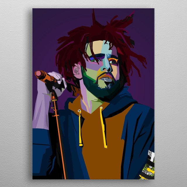J Cole WPAP Pop Art metal poster