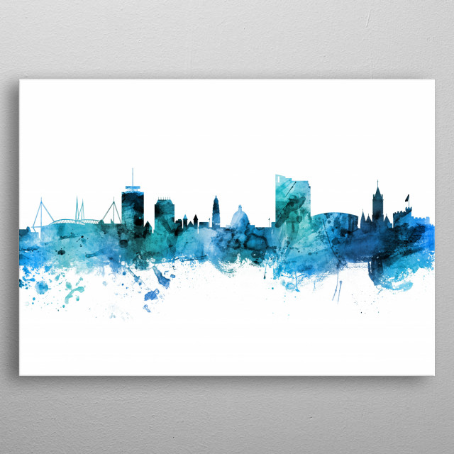 Watercolor art print of the skyline of Cardiff, Wales, United Kingdom metal poster