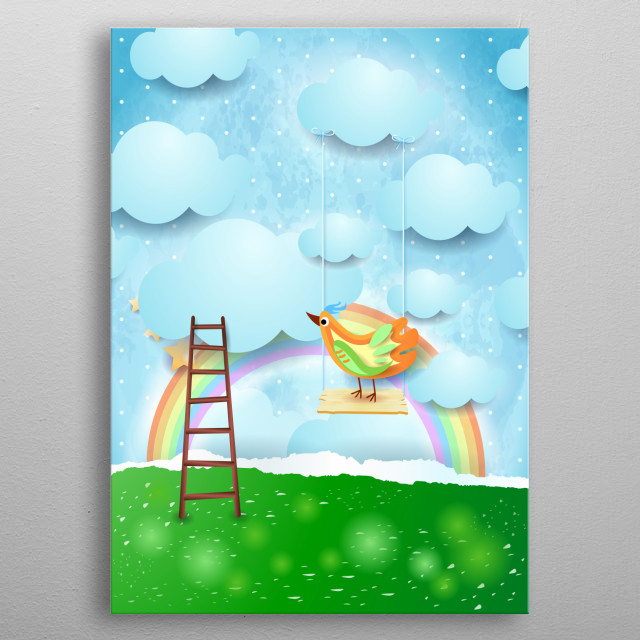 Paper surreal landscape with swing and colorful bird metal poster