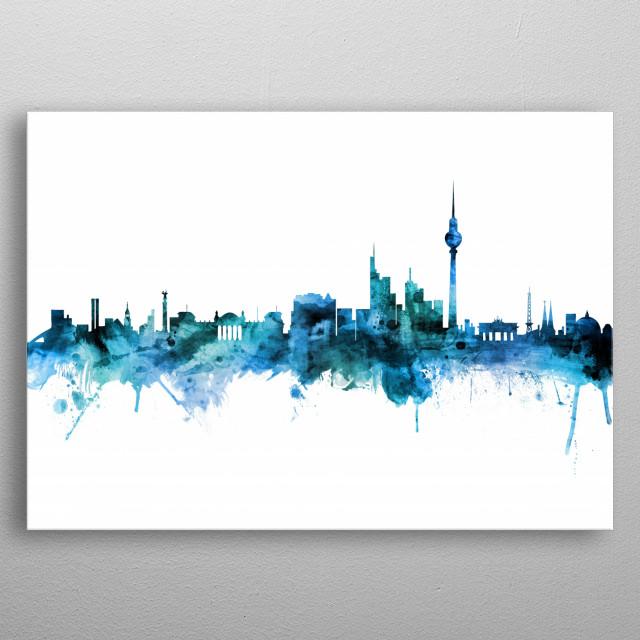 Watercolor art print of the skyline of Berlin, Germany metal poster