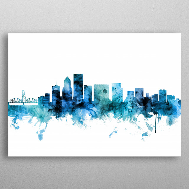 Watercolor art print of the skyline of Portland, Oregon, United States metal poster