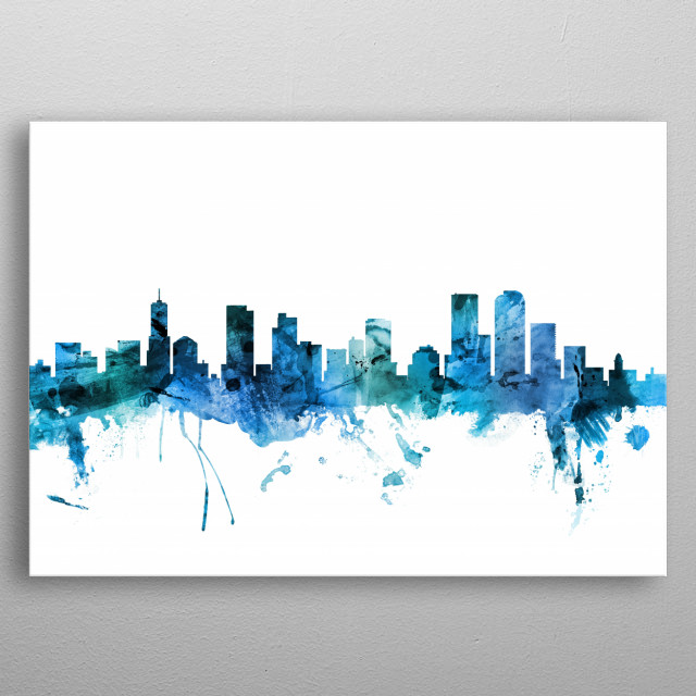 Watercolor art print of the skyline of Denver, Colorado, United States metal poster