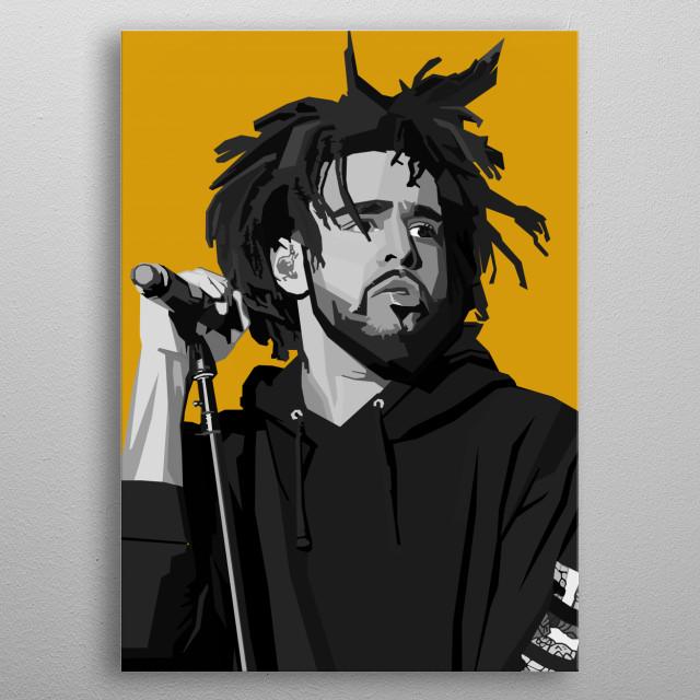 J Cole WPAP Pop Art metal poster
