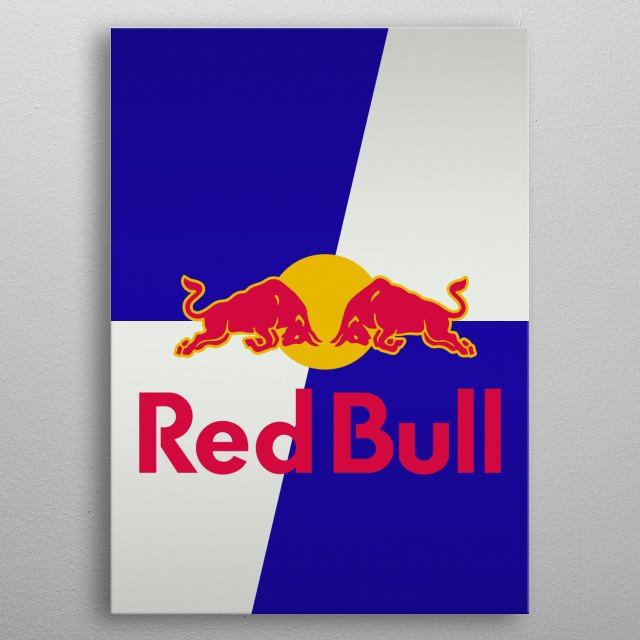 A metallic brushed finish graphic of the Red Bull soft / fizzy drink aluminium can design. metal poster
