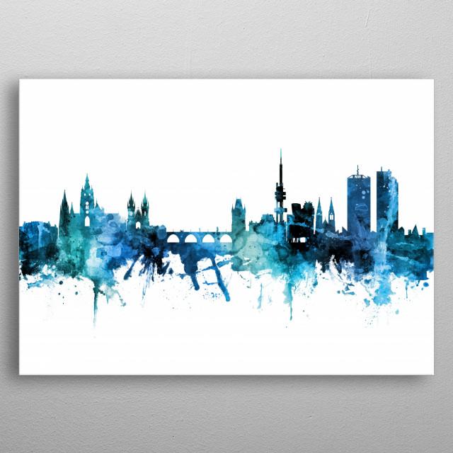 Watercolor art print of the skyline of Prague, Czech Republic (Praha) metal poster
