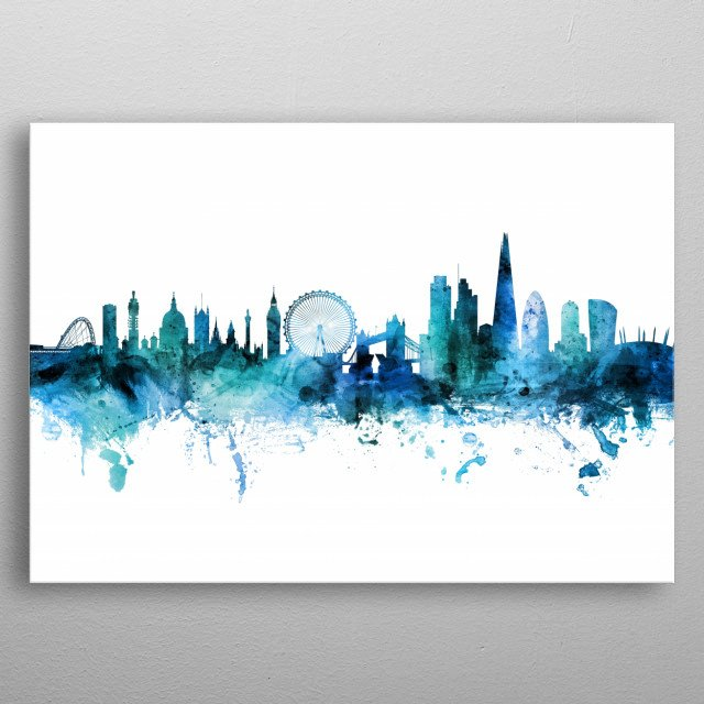 Watercolor art print of the skyline of the City of London, England metal poster