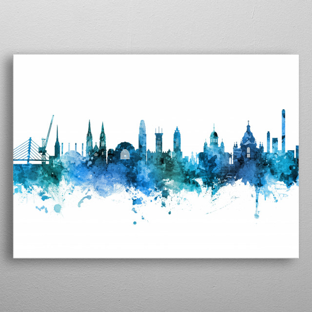 Watercolor art print of the skyline of Helsinki, Finland metal poster
