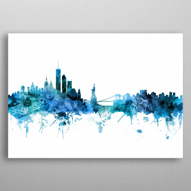 Watercolor art print of the skyline of the City of New York, New York, United States metal poster