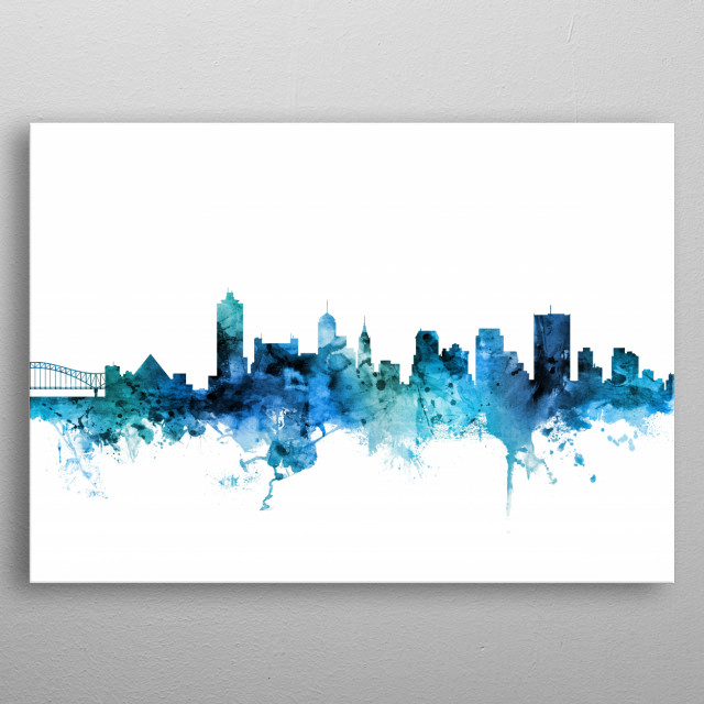 Watercolor art print of the skyline of Memphis, Tennessee, United States metal poster