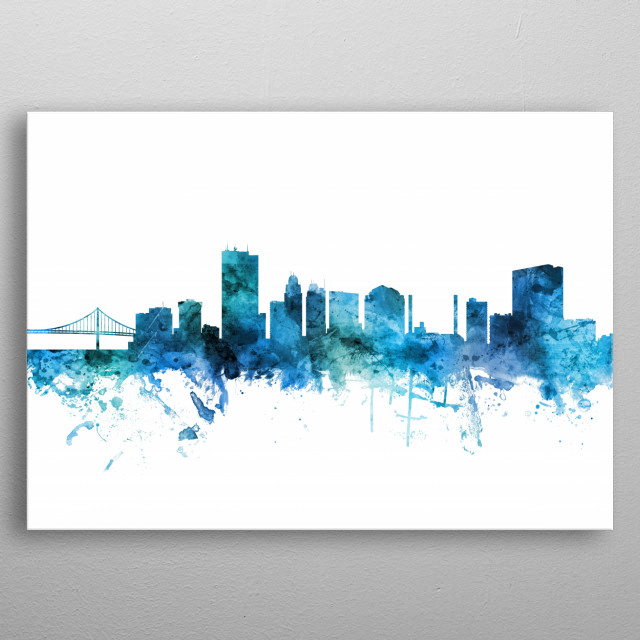 Watercolor art print of the skyline of Toledo, Ohio, United States metal poster