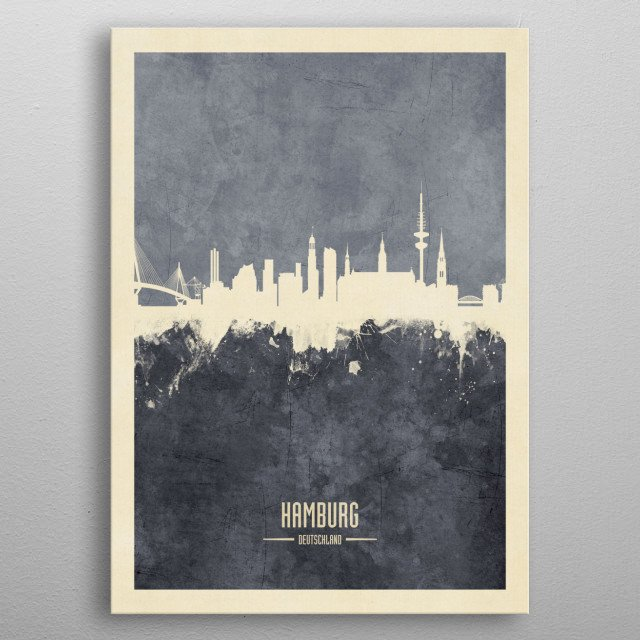 Watercolor art print of the skyline of Hamburg, Germany metal poster