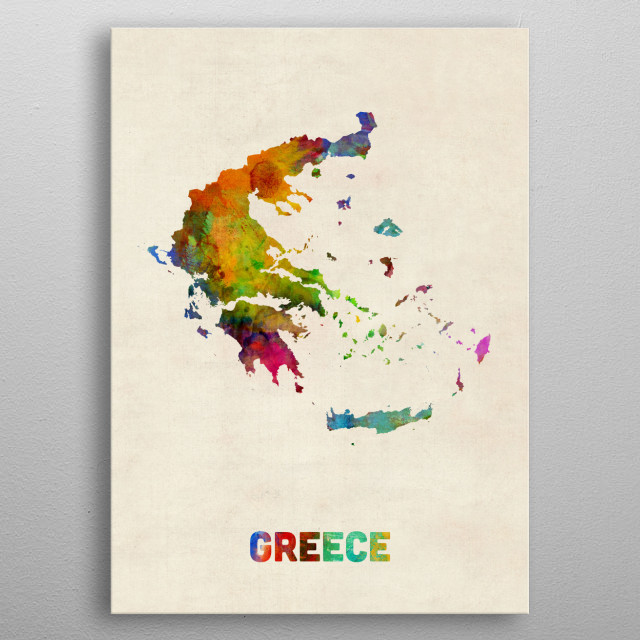 A watercolor map of Greece metal poster