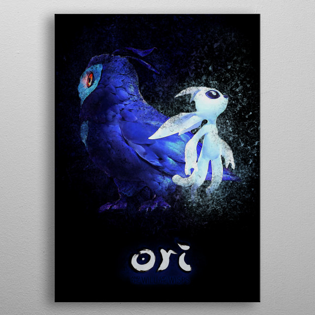 "Kuro and Ori from ""Ori and the Will of the Wisps"" video game. metal poster"