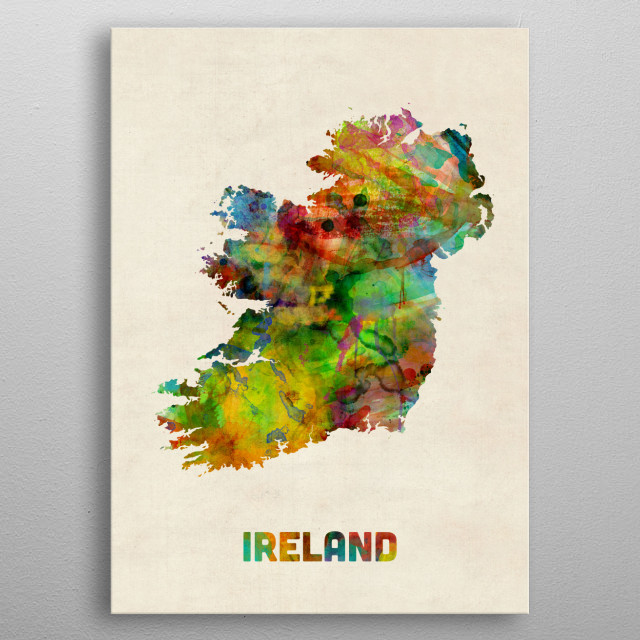 A watercolor map of Ireland metal poster