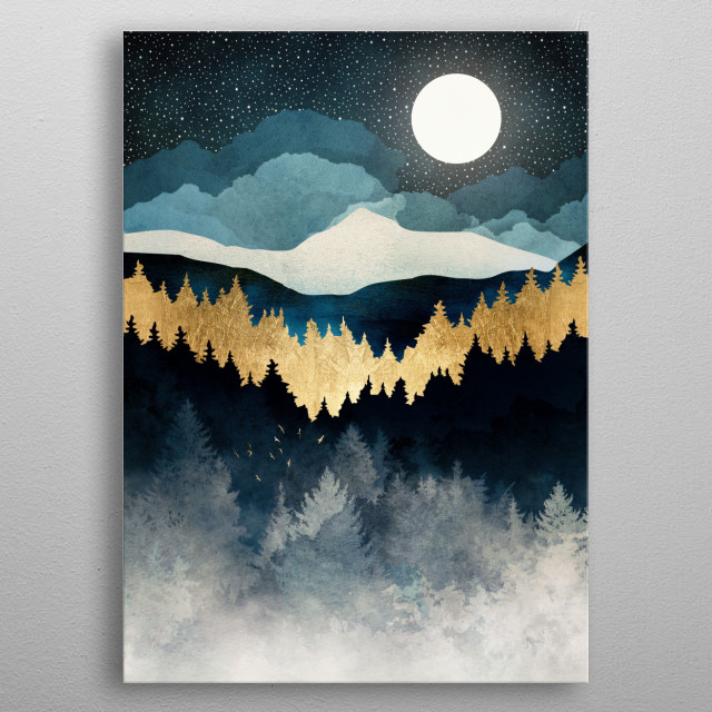 Abstract landscape of a moonlit indigo forest with gold metal poster