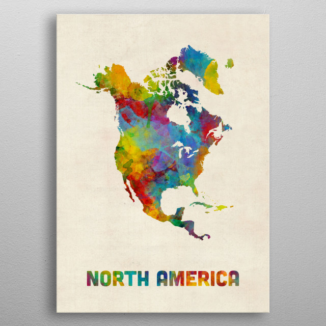 North America Map by Michael Tompsett   metal posters - Displate