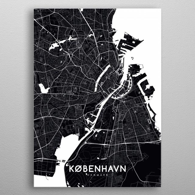 Kobenhavn map black metal poster