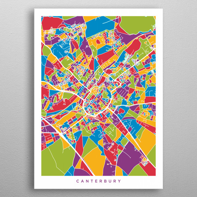 Canterbury England Map By Michael Tompsett Metal Posters Displate