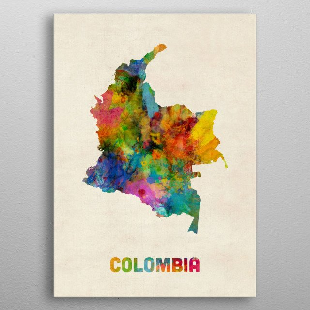 A watercolor map of Colombia on a vintage background metal poster