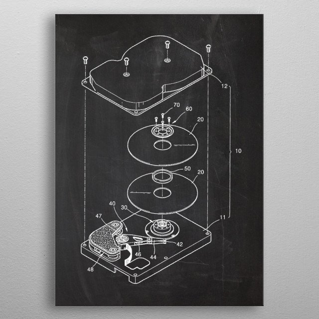HDD Hard Disk Drive - Patent Drawing metal poster