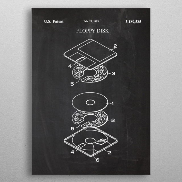 1993 Floppy Disk Drive - Patent Drawing metal poster