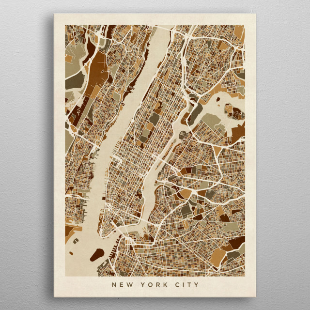 A street map of New York City. metal poster