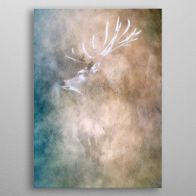 Red deer stag painted in old master style. metal poster