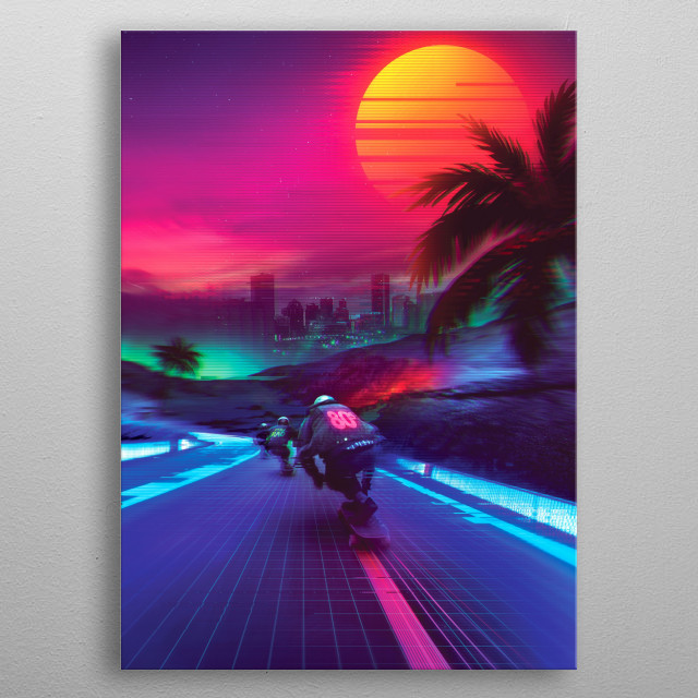 Retrofuturistic Design That inspired by synthwave music scene. expresses nostalgia from 1980's / 1990's culture. metal poster