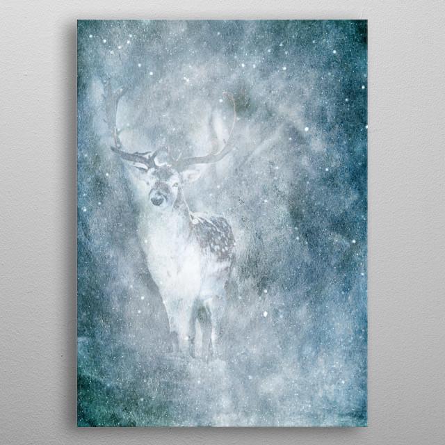 Fallow deer buck in snowfall. metal poster