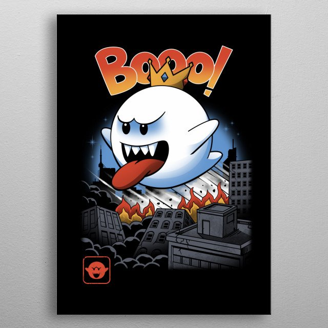 Ghost Kaiju on the loose! metal poster