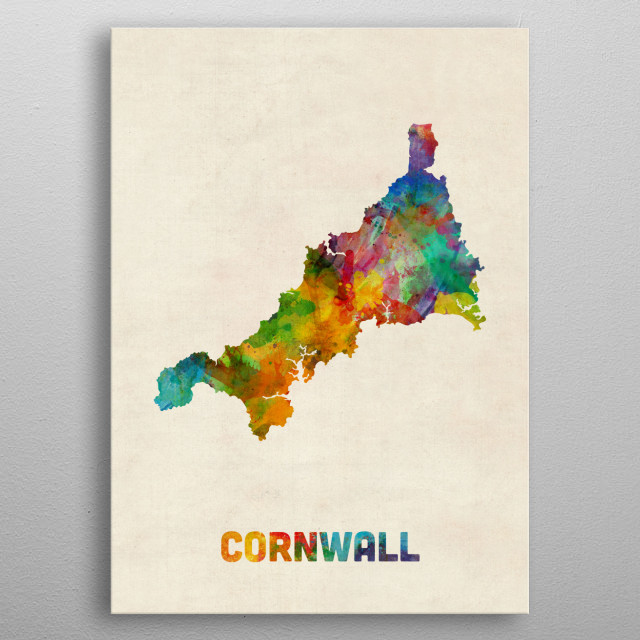 A watercolor map of Cornwall, England. metal poster