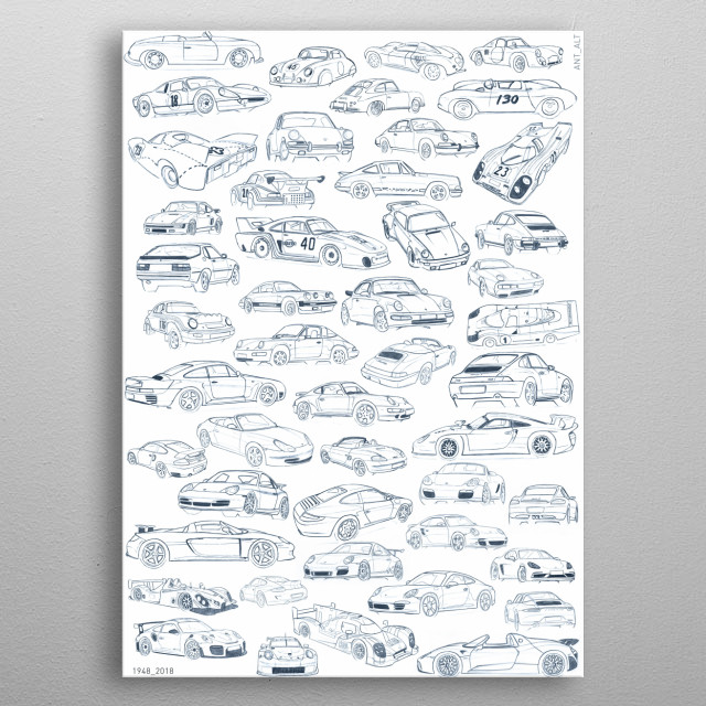 Illustration of important and famous cars made by Porsche. To 1948 to 2018. BLACK ON WHITE  metal poster