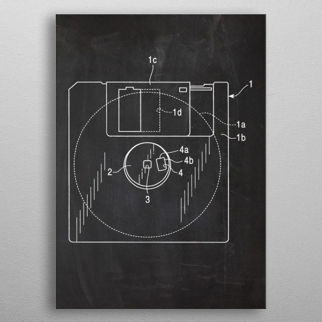 FDD Floppy Disk Drive - Patent Drawing metal poster