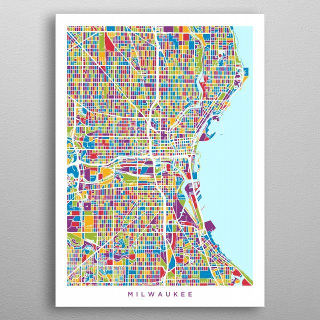 Milwaukee Wisconsin Map By Michael Tompsett Metal Posters