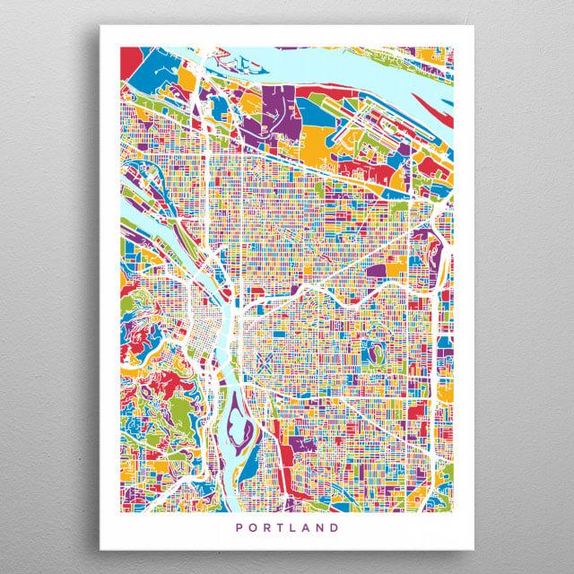 Portland Oregon Map by Michael Tompsett | metal posters ...