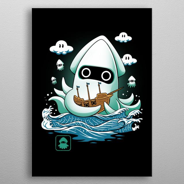 Blooper Kaiju on the loose! metal poster